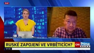 Tomio Okamura v TV CNN Prima News o obvinění Ruska z  podezření ze zapojení do výbuchu ve Vrběticích