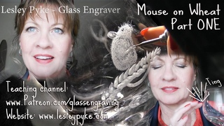 Hand engraving mouse on wheat - Brandy glass - Part ONE