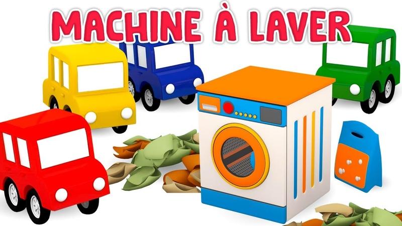 4 voitures colorées Construisons la machine à laver Dessin animé éducatif pour enfants