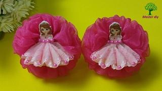 Маленькие бантики с принцессами №2, юбка из ленты 2,5см\Master diy МК канзаши