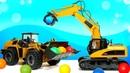 Машинки-помощники Брудер погрузчик и бульдозер собирают шарики! Видео для детей