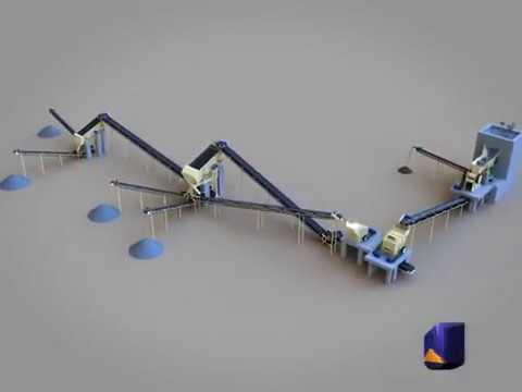 Stone crushing production line 3D Animation