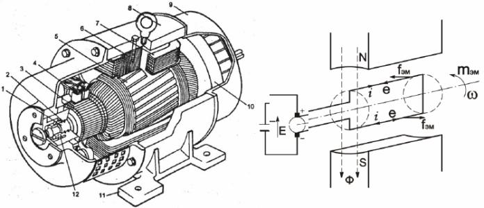 Устройство и приницип работы электродвигателя постоянного тока: 1 - якорь, 2 - вал, 3 - коллекторные пластины, 4 - щеточный узел, 5 - магнитопровод якоря, 6 - магнитопровод индуктора, 7 - обмотки возбуждения, 8 - корпус индуктора, 9 - боковые крышки, 10 - вентилятор, 11 - лапы, 12 - подшипники.