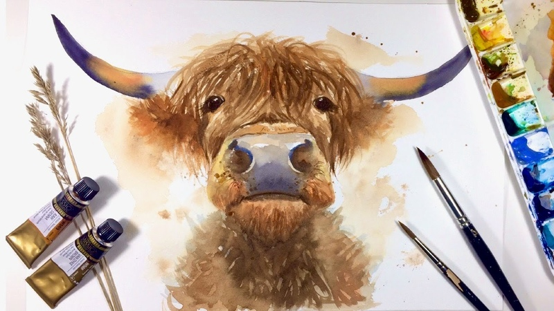 HIGHLAND COW WATERCOLOR PAINTING How To Draw and Paint Tutorial Simple Animal Painting