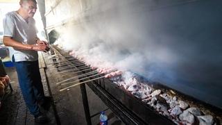 Amazing Uzbek Food in Samarkand - GIANT 21 METER Kebab Grill + Ancient Uzbekistan!