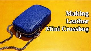 54 [Leather Craft] Making Leather Mini Crossbag / [가죽공예] 미니 가죽 크로스백 만들기 / Free Pattern