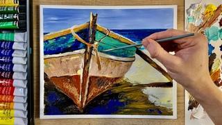 Картина Старая рыбацкая лодка на берегу моря   Уроки по рисованию   Пошаговое рисование акрилом