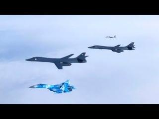 Сопровождения B-1B Lancer парами истребителей Су-27 и МиГ-29 украинских Воздушных Сил ВСУ