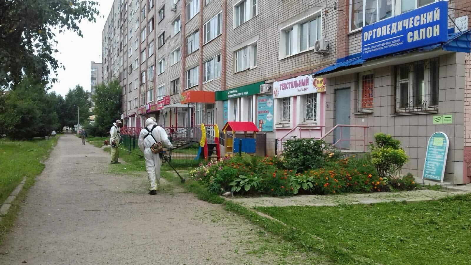 Ул. Кольцова, 13. Кошение газонов.