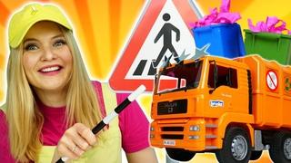 Школа Машинок с Алёной: мусоровоз, бетономешалка и грузовик на уроке! Сборник видео для детей