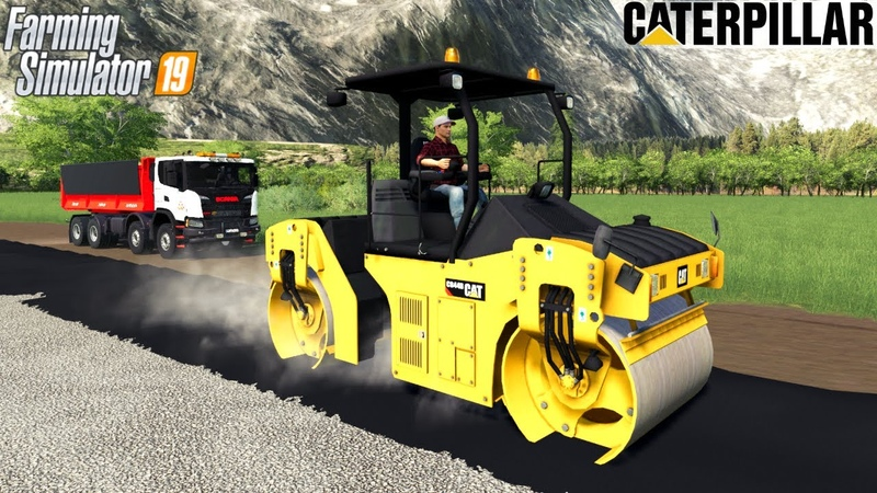 Farming Simulator 19 CATERPILLAR CB44B Compactor Roller Compaction of Asphalt
