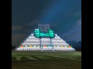 Световое шоу на Кукулканских ночах в Chichén Itzá на Юкатане в Мексике  🇲🇽