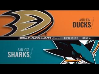 Stanley cup playoffs 2018 wc r1 game 4 anaheim ducks-san jose sharks