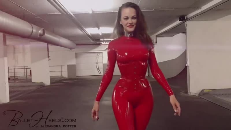Alexandra Potter in Red Latex Catsuit!