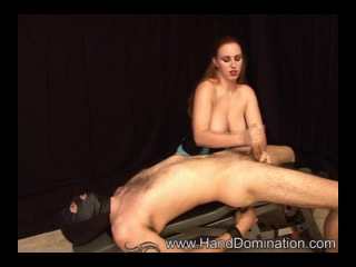 08 27 Jamie Bound slave gets Humiliated and Milked by Busty Redhead cfnm bdsm domination dick handjob