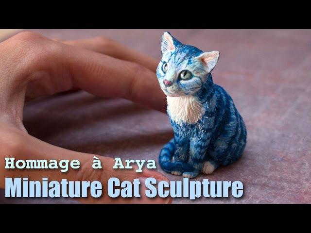 Polymer Clay Cat Sculpture Hommage à Arya