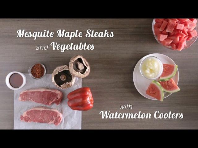 Publix Aprons Cooking School Mesquite Maple Steaks Vegetables with Watermelon Coolers