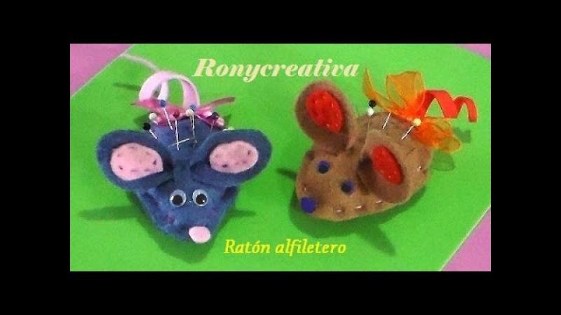 Cómo hacer un RATON ALFILETERO - tierno y util ratoncito de fieltro / Ronycreativa