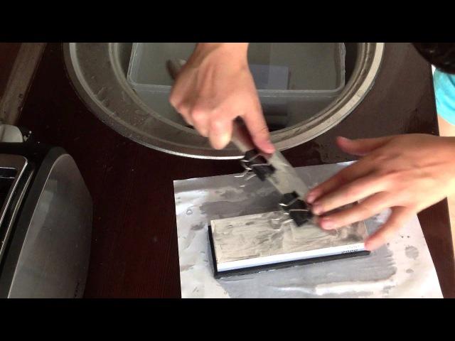 Ручная заточка ножа скрепка тест на пригодность нож №1 Шеф Thomas сталь P175A ПРОБУЕМ