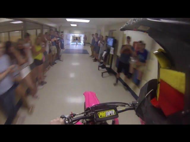 Dirt Bike ride through high school Senior Prank
