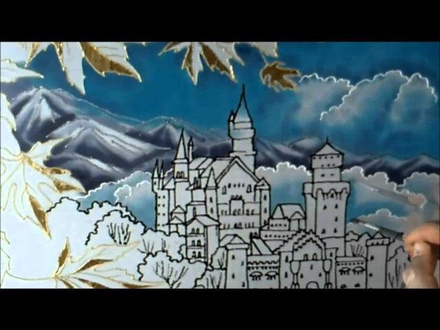 Silk painting 'Autumn in the Alps' Seidenmalerei 'Herbst' Батик 'Осень в Альпах'