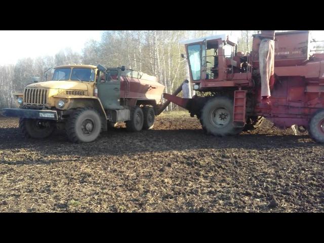 Посевная 2016 Агрофирма Манчажская трактора Т150 с 3х сеялочным агрегатом К 744р3 с 5т