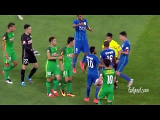 Alex Teixeira Funny Red CardZhang Xiaobin Dive