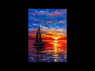 Закат на море мастихином. Татьяна Зубова. Sea sunset. Oil painting. Tatiana Zubova