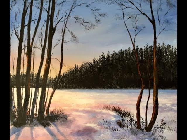 Как рисовать свет в зимнем пейзаже. Акрил; How to paint light in Winter scene in acrylic