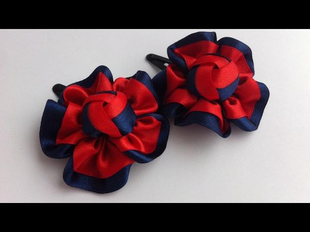 Украшение на заколку Канзаши Красно синий цветочек