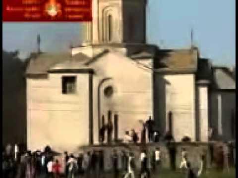 KFOR Leaves Albanians destroy Saint Elijah Church Podujevo