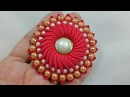 109) DIY || Ribbon Flower with beads|| Grosgrain Flower with beads tutorial || Pearly Blossom