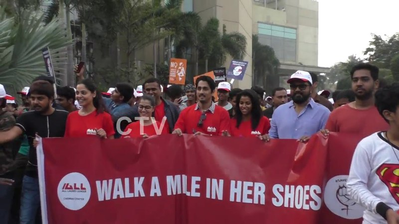 Siddharth Varalakshmi Sarathkumar at Walk a Mile in Her Shoes Stop violence against Women