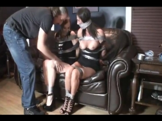 Two sexy girls duct taped and gagged bondage