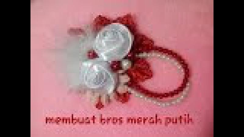 Bros Merah Putih Bunga Mawar Kembar
