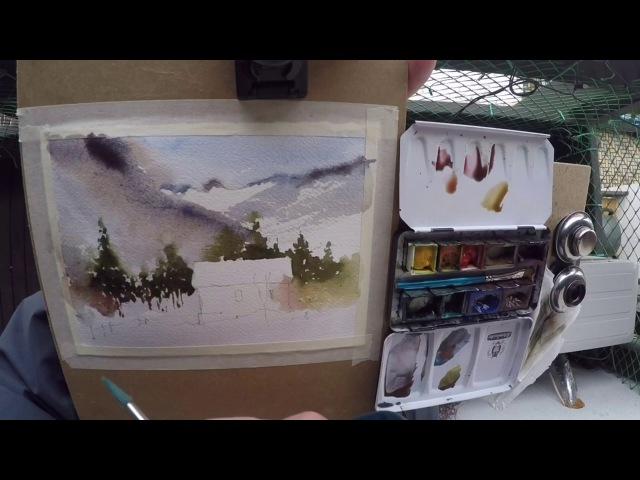 Outdoor winter pleinair sketch in watercolor done in 11 minutes