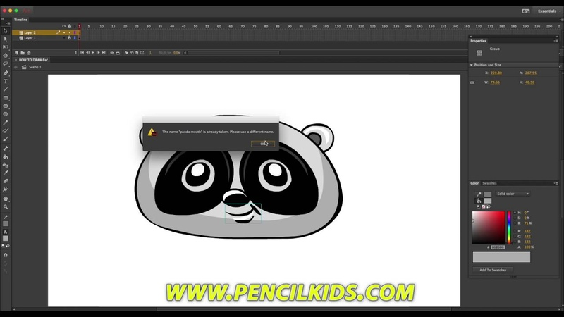 How to Draw and Animate in Adobe Animate CC - Drawing and animating a cartoony Panda