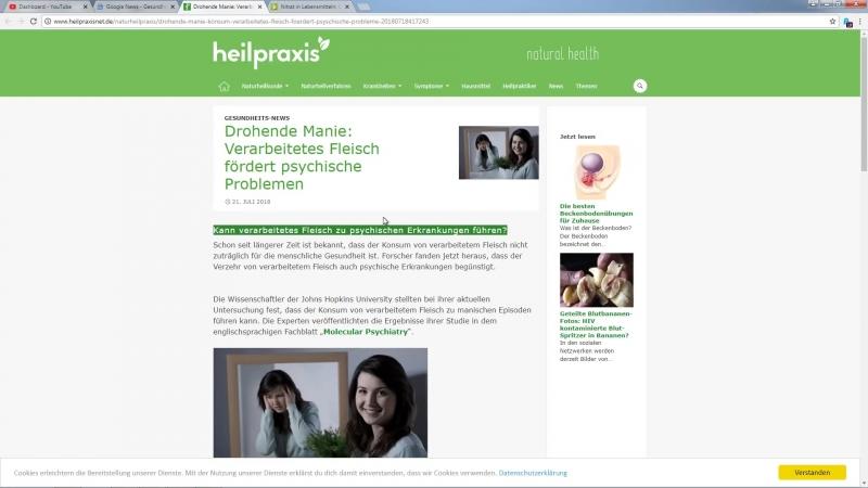 Eigenartige Wissenschaft in Deutschland Ab sofort auch alle Fleischesser psychisch Krank