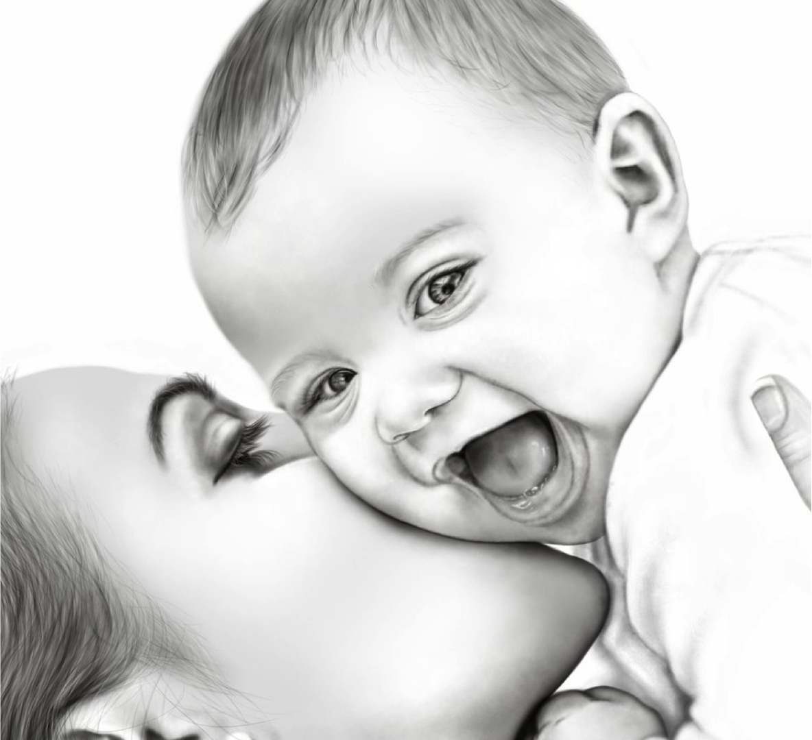 Картинки мама с детишками нарисованные