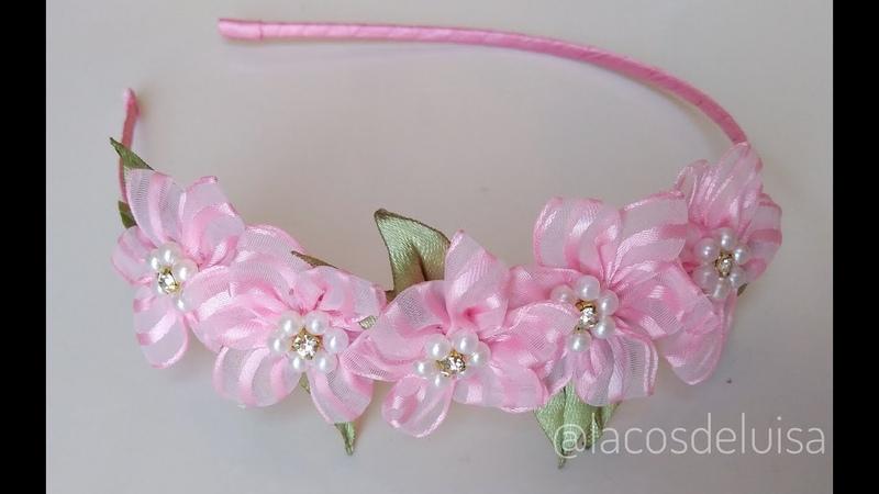 🌺Tiara mini Flor de Organza 🌺