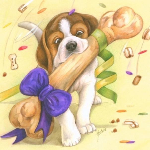 Открытка с рождением щенков