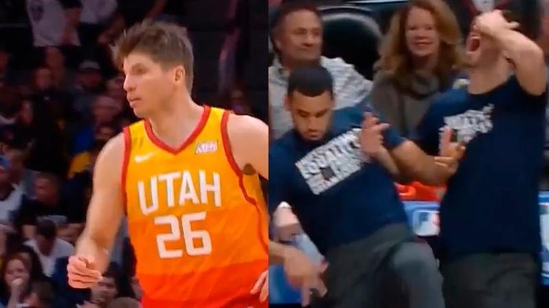 Kyle Korver activates LeKorver mode make the Jazz bench go crazy in game vs Nuggets