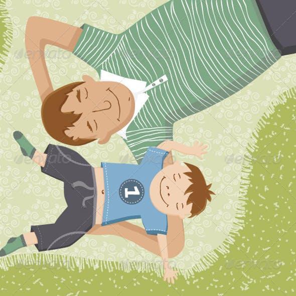 картинки папа и сын рисунки них есть общие