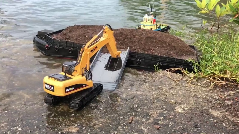 RC Tug Barge X Double E Dump Truck X Huina Excavator Work At Sea