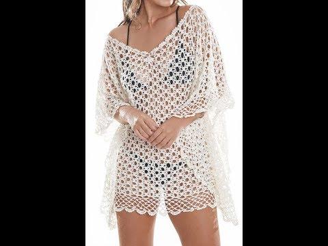 Crochet salida de playa poncho blusa verano todas las tallas