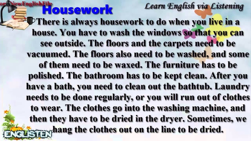 Learn English via Listening Level 1 Unit 19 Housework