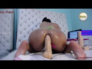 Perverted latina girl xxisabelaxxx crush her ass with many dildos