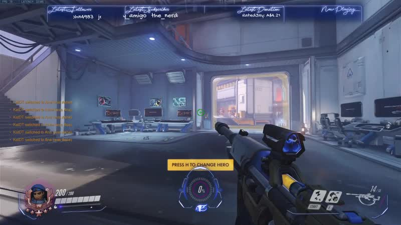 My stream overlay changes with each hero (only Ashe and Ana done so far)