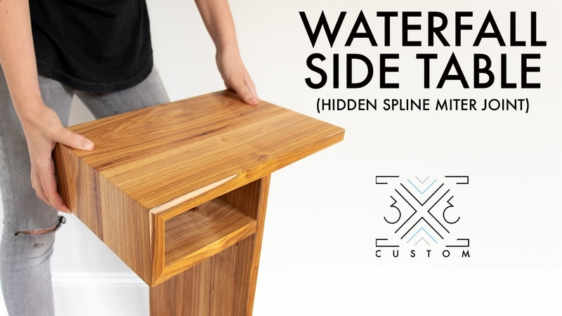 Waterfall End Table with Hidden Spline Miter Joint Woodworking Joinery Modern DIY Furniture