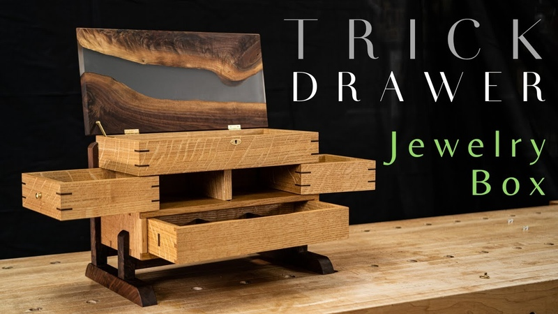 SECRET DRAWER Jewelry Box With Epoxy River Top Fine Woodworking